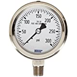 WIKA 9768670 Industrial Pressure Gauge, Dry/Liquid-Fillable, Stainless Steel 316L Wetted Parts, 2-1/2