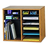 Safco Products Wood Adjustable Literature Organizer - 12 Compartment, Oak (9420MO)