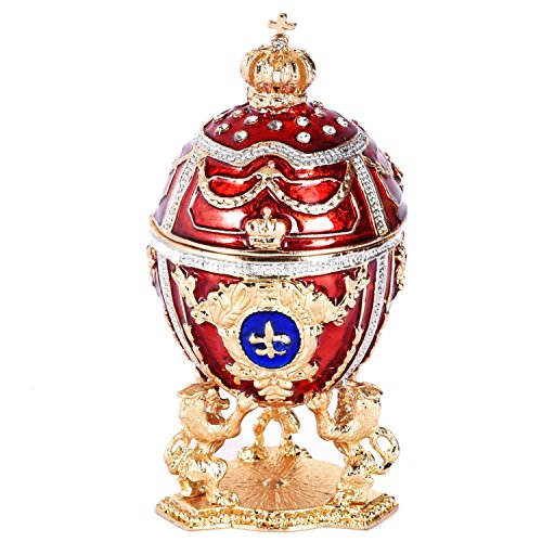 (Faberge Replica Red Russian Style Egg Trinket Box Decorated with Swarovski Crystals, Lions and Crown, 2.5