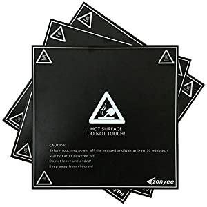 "Zonyee 3D Printing Build Surface, 3D Printer Heat Bed Platform Sticker 8.42"" x 8.42"" Square, Black from Zonyee"