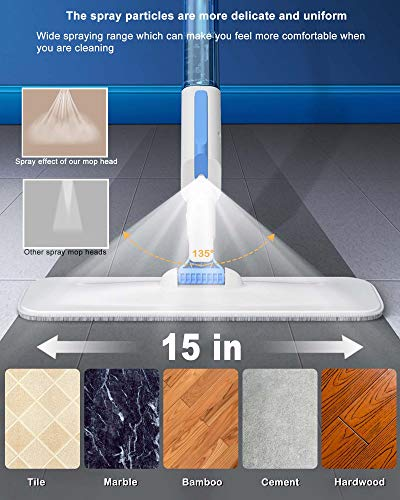 AYOTEE Microfiber Spray Mop for Floor Cleaning, Hardwood Floor Mop with 30Pcs Floor Cleaning Slices,3 Mop Pads,1 Refillable Spray Bottle, Flat Mop for Hardwood, Tile, Laminate, Ceramics