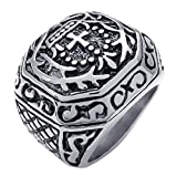 KONOV Heavy Wide Large Stainless Steel Vintage Cross Biker Mens Ring, Black Silver - Size 12