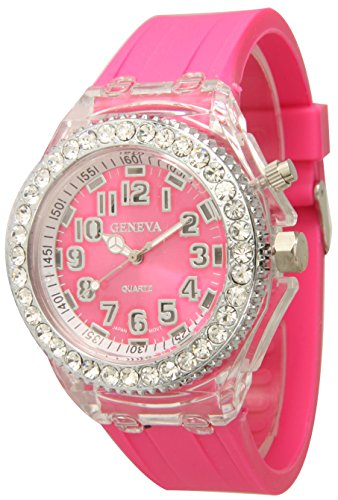 Multicolored Geneva Quartz Flashing Light up Color Changing LED Silicone Jelly Watch (Pink) - Pink Quartz Jelly