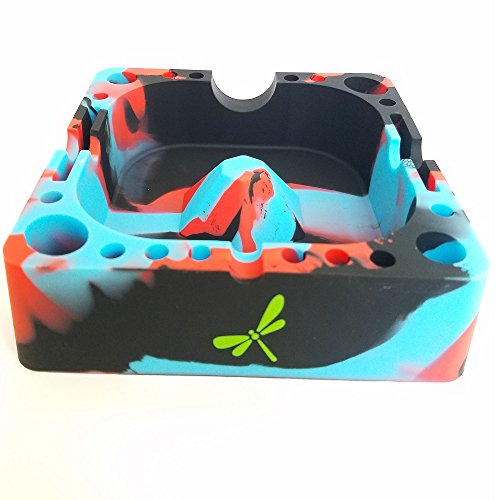 Dragon Fly Essentials- Silicone Ashtray With Compartments ,Eco Friendly, Unbreakable Soft Rubber High Temperature Heat Resistant Colorful Cigar and Cigarette Holder for Smokers. Dragonfly Tray