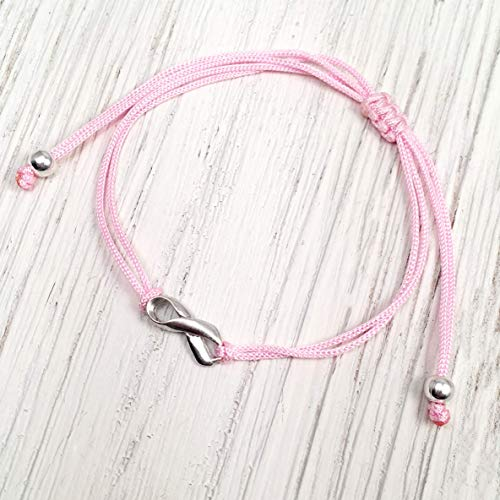 Pink Womens Friendship Breast Cancer Awareness Support Bracelet, Handmade Small Sterling Silver Ribbon Shaped Charm, Adjustable Thread Cord with Silver Bead Ends