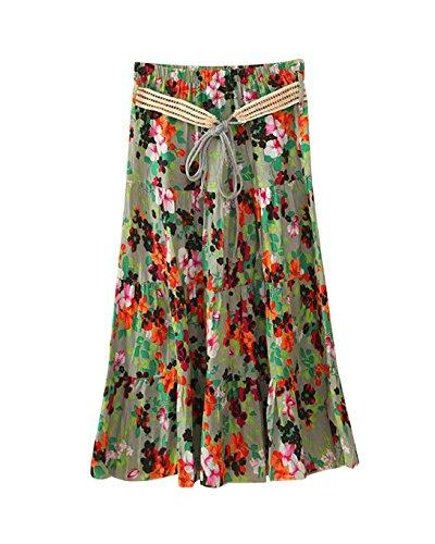 Femme Imprim Haute Bohme Jupe Line Rtro Taille Jupes Floral A Style Midi t Casual 8 Longue Color 5CwYz