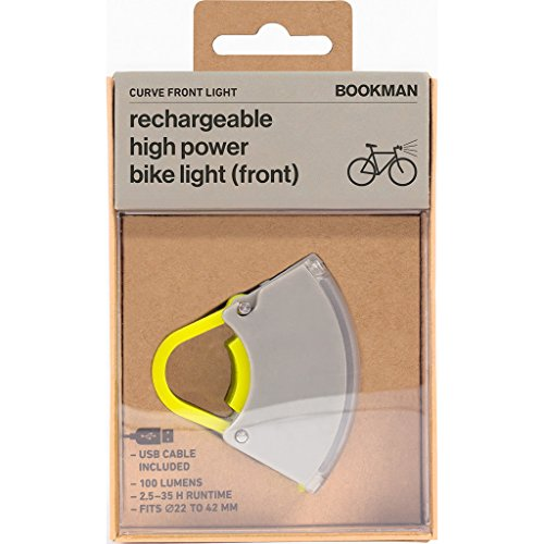 Bookman Curve Rechargeable High Power Front Bike Light - 100 Lumens (Gray/Yellow)