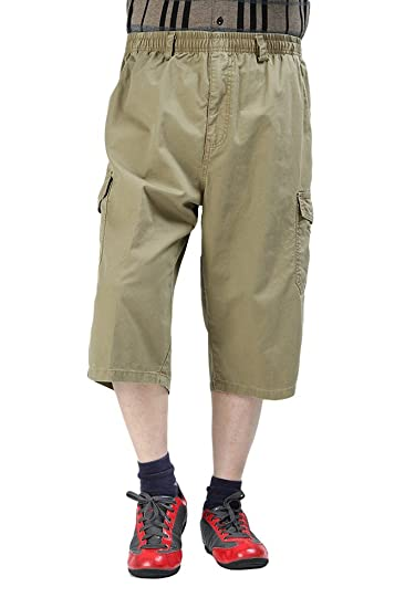 c13bcde9ec Image Unavailable. Image not available for. Color: Chickle Men's Cotton  Loose-Fit 3/4 Long Cargo Shorts 3XL Oliver Green