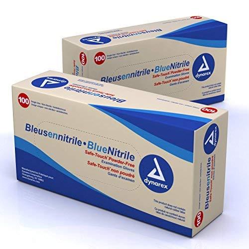 Dynarex® Blue Nitrile Gloves - Medium - HALF CASE - 5 BOXES by Dynarex