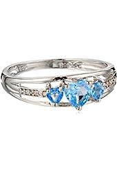 Three Heart Shape .018 Diamonds CTTW in Silver Blue Topaz Ring, Size 8