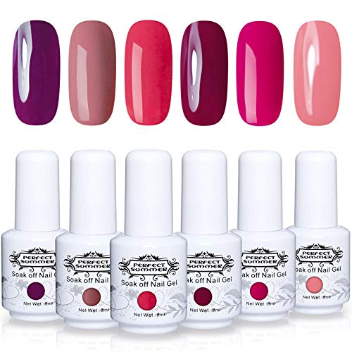 Perfect Summer Gel Nail Polish - 6 New Colors Gel Nail Varnish Soak Off UV LED Manicure Home Gel Manicure System Classic Red Colours 8ML 155 (Best Gel Polish System)