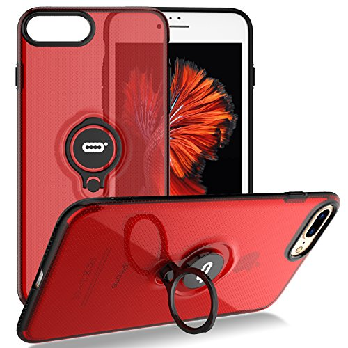 iPhone 8 Plus Case, iPhone 7 Plus Semi-Transparent Clear Case with Ring Holder Kickstand Built-in Metal Sheet Work with Magnetic Car Mount Ultra-Slim Cover Case for iPhone 8 Plus 5.5 inch - Clear Red