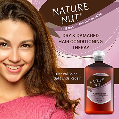 Nature Nut Hair Conditioner for Dry & Damaged Hair - Hypoallergenic Deep Conditioner | 5 Nut Natural Blend Moisturizer Ultra Hair Repair Treatment