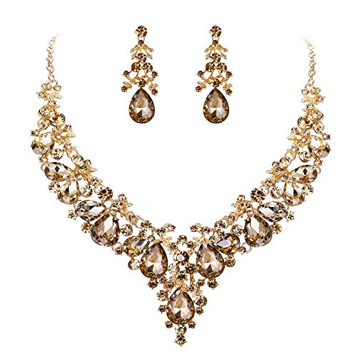 EVER FAITH Women's Crystal Bridal Banquet Floral Cluster Teardrop Necklace Earrings Set Brown Gold-Tone
