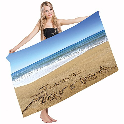 (Mugod Bath Towel Beach Towel Wedding Just Married Blue Brown White Quick Drying Bath Towels Cotton Polyester for Home Bathroom Pool and Gym 32 X 64)