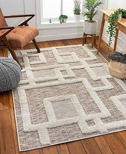 Well Woven Helga Beige Flat-Weave Hi-Low Pile Geometric Boxes Area Rug 5×7 5 3 x 7 3