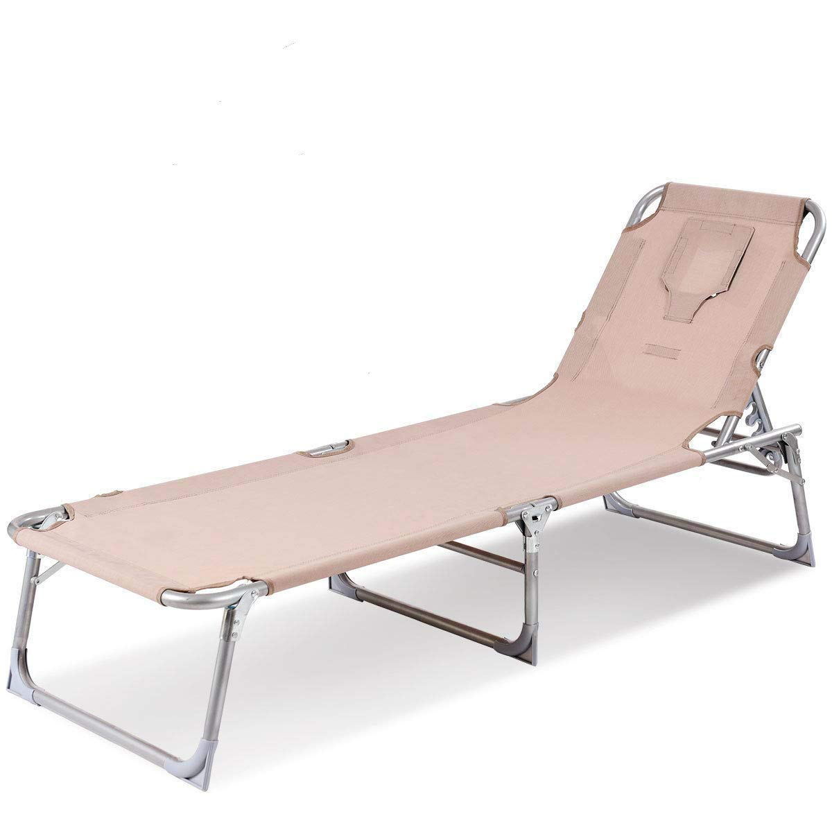 Goplus Folding Chaise Lounge Chair Reclining Adjustable Outdoor Patio Beach Camping Recliner w/Hole for Face Pool Yard (Apricot)