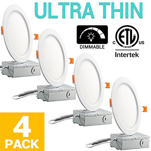 12W 6 inch Slim Recessed Ceiling Light 950LM 5000K Daylight Dimmable Airtight Downlight with Remote Driver - 4 Pack by Best World LED
