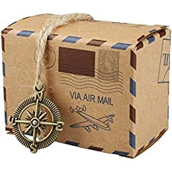 vLoveLife 50pcs Vintage Inspired Airmail Design Favor Boxes Bonbonniere With Compass Kraft Paper Candy Boxes Gift Box With Burlap Twines for wedding airplane inspired reception or travel themed events