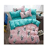 4pcs Children Beddingset Duvet Cover Set Duvet Cover Bedsheet Pillowcase Twin Full Queen HM Fox Design (Full, China Panda)
