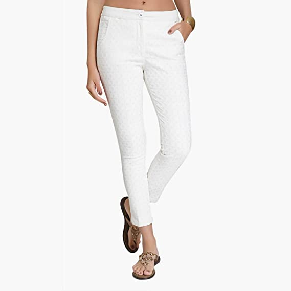 Buy Naari White Cotton Slim Fit Embroidered Cigarette Trousers For Women S At Amazon In