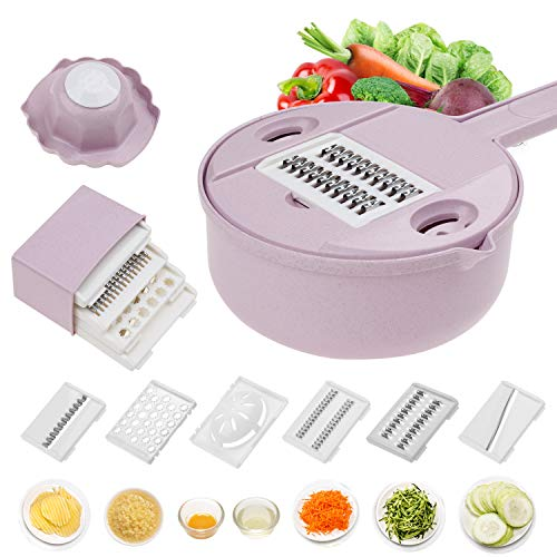Jeslon Vegetable Mandoline Slicer - 10 in 1 Vegetable Spiralizer Cutter and Shredder - Kitchen Multipurpose Julienne Grater with Guard and Egg white Separator - Low Carb Meals Veggie&Food Dicer