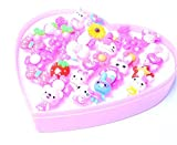 Yuloen Little Girls Jewellery Ring 36Pcs/Set New Children's Acrylic Love Boxed Cartoon Animal Ring(Solid Color)