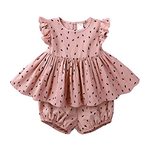 NUWFOR Sundress Summer Dot Dress Infant Baby Kid Girl Ruffle Print Sleeveless Tops Bread Shorts Outfits Set(Pink,6-9 Months)