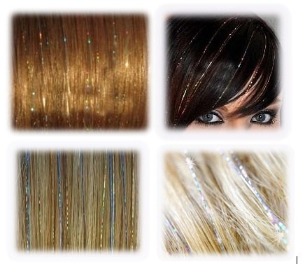 20'' Hair Tinsel 175 Strands Seven Colors (Sparkling Silver, Purple, Rainbow, Hot Pink, Gold, White Gold, Blue) With Bonus by La Demoiselle (Image #5)