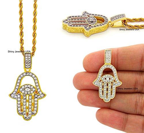 Yellow Gold Hamsa Pendant (14K Yellow Gold Finish Hand Of God Chaemseh Hamsa Pendant Rope Chain Necklace (Rope Chain))