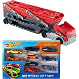 Bundle Includes 2 Items - Hot Wheels Mega Hauler and Hot Wheels Exclusive Decoration Gift Pack, 9-Piece