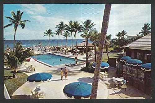 Blue Umbrellas at Pan American Hotel Collins Ave Miami Beach FL postcard - Ave Miami Collin Beach