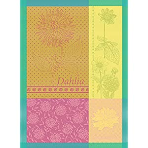 """Garnier-Thiebaut Dahlia Citrus, 22 by 30"""", French Kitchen Towel, 100% two-ply twisted cotton Cotton, Made in France"""