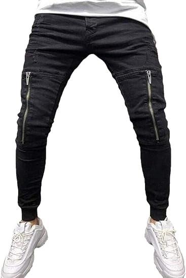 BYWX Men Sport Casual Denim Pants Zipper Denim Jogger Pants
