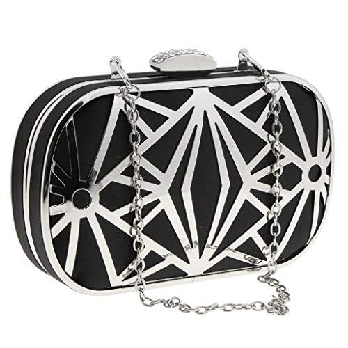 Black Wedding Prom Bag Bag Fityle Bridal Clutch Metal Smart Graceful Evening Satin Women��s Handbag Hollow qZqgC16