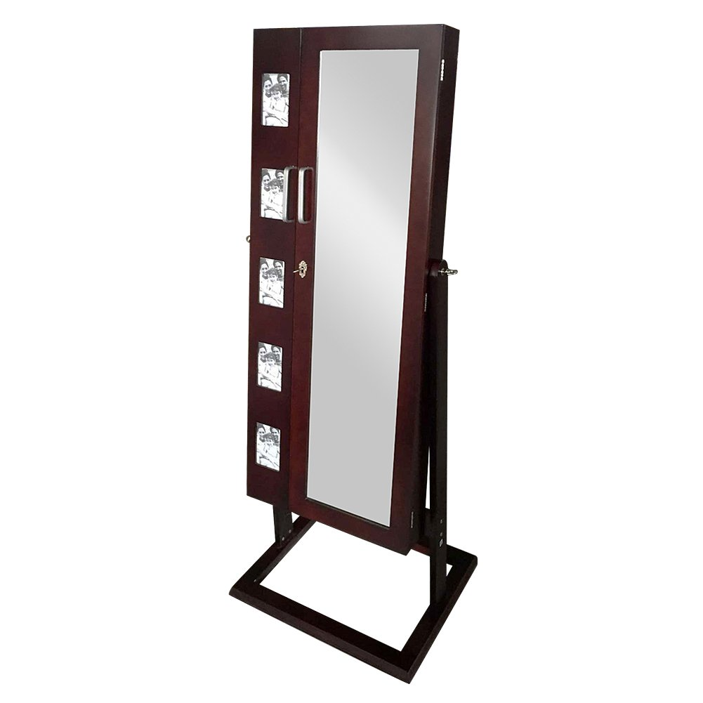 Brown Mirrored Jewelry Cabinet with Picture Frame and 2 Doors
