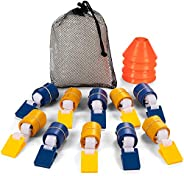 Champion Sports Deluxe Flag Football Game Set Flag Football Equipment - Game Sets with 5 Blue Flag Football Be