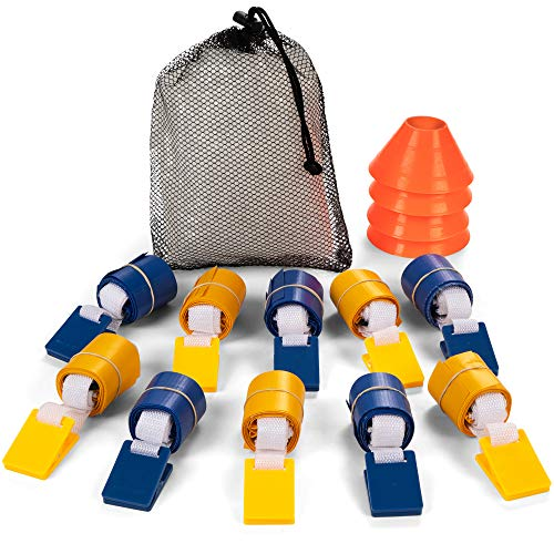 (Champion Sports Deluxe Flag Football Game Set Flag Football Equipment - Game Sets with 5 Blue Flag Football Belts, 5 Yellow Flag Football Belts, 4 Orange Disc Cones and Mesh Carrying Bag)