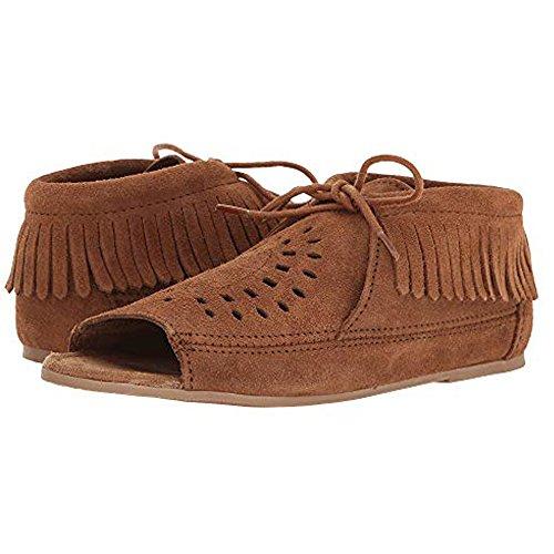 Minnetonka Shoes Womens Suede Lyra Open Toe Bootie 9 Dusty Brown 6073