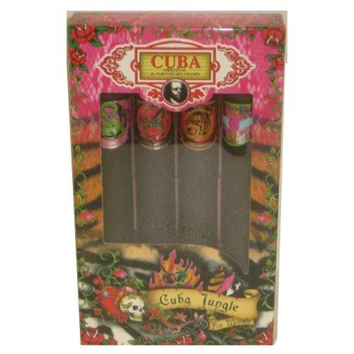 Cuba Jungle Collection 4-Piece Perfume Variety Gift Set - Includes Cuba Snake, Cuba Tiger, Cuba Zebra, and Cuba Heartbreaker - 1.17 Oz Perfume (EDP) Each - Snake Perfume