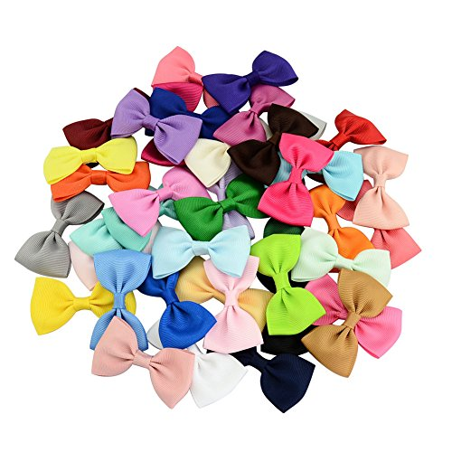 40 PCS Multi-colored Hand-made Grosgrain Ribbon Bowknot in Pure Color, Alligator Hair Bow Clips Barrettes Hair Accessories for Baby Girls Teens Infant Toddlers Kids Children (2.75Inch)