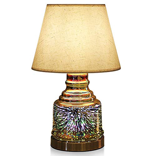 Table Lamp,Desk Lamp with Bulb Included - Modern Lamp with Unique Lampshade,Handmade 3D Effect Glass Base - Perfect for Table in Bedroom,Bedside,Living Room,Office (Table Lamp Bowling)