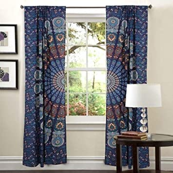 Buy Psychedelic Boho Living Room Curtains For Bedroom Indian Tapestry Shower Blackout Curtains Hippie Balcony Sheer Room Divider Window Treatments Valances Handmade Mandala Curtain Panel Set Online At Low Prices In
