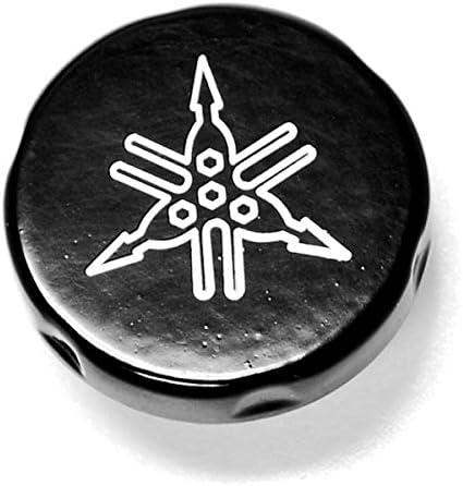 Krator Motorcycle Fluid Black Reservoir Cap Logo Engraved For 2004-2009 Yamaha FZ6 Fazer 600