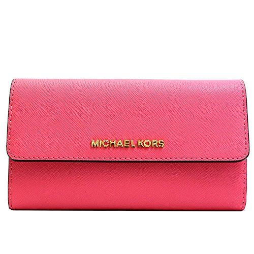 Michael Kors Jet Set Large Trifold Wallet Electric Pink Floral - Pink Floral Wallet