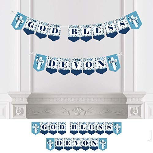 Big Dot of Happiness Personalized Baptism Blue Elegant Cross - Custom Boy Religious Party Bunting Banner & Decorations - Baptism Custom Banner ()