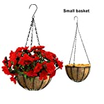 Mynse-Artificial-Flower-Azalea-Hanging-Flower-Pot-with-Chain-for-Home-Market-Outdoor-Decoration-Hanging-Basket-with-Artificial-Rhododendron-Flowers-Red-Small-Basket