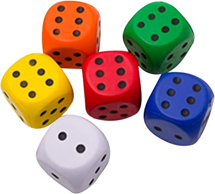 5 Pack of Jumbo Dice New Colors Red White Yellow Blue Green