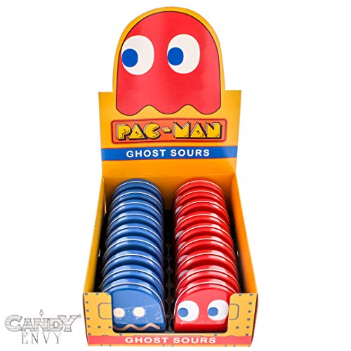 - Pac-Man Ghost Candy Filled Tins - Blinky Shaped Tins Filled with Sour Cherry Candies - Includes