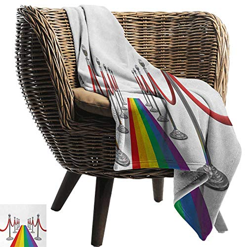 (AndyTours Blanket,Pride,Colorful Carpet and Stanchions Ceremony Community Gay Parade Important Event Image,Multicolor,Flannel Blankets Super Soft Warm Thick Blanket for Home)